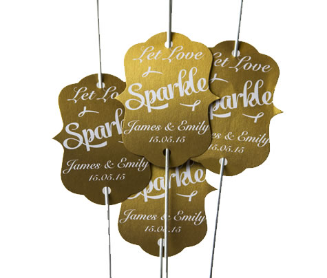 40 Personalised Sparkler Tags - Antique Gold