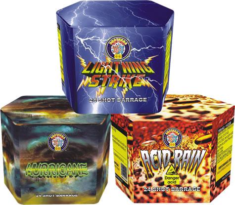 24 Shot Cakes x 3 (Acid Rain, Hurricane, Lightning Stike)