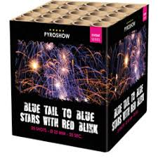 Blue Tail to Blue Stars with Red Blink - Pro by PyroShow