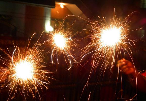sparklers at diwali fireworks
