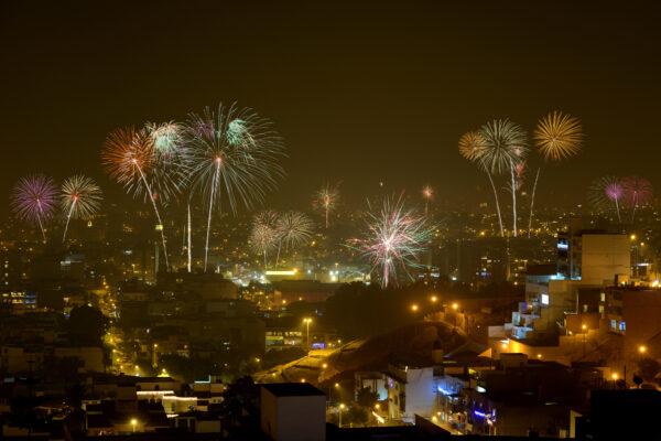Fireworks over Lima, Peru